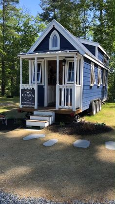 """Tiny House Tour of """"Clara"""" Tiny Home on Wheels! Walkthrough video tour of the """"Clara"""" tiny house on wheels built from a Tumbleweed plan and currently for rent in South Hampton, New Hampshire (Tuxbury Tiny House Village)! Tiny House Village, Building A Tiny House, Tiny House Cabin, Tiny House Living, Tiny House On Wheels, Small House Plans, Living Room, Tiny House Exterior Wheels, Shed To Tiny House"""