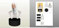 Papercraft .pdo file template for LOTR - Saruman Standup.
