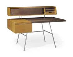 George Nelson FOR Herman Miller   A Birch, Leather and Steel Desk, designed 1946