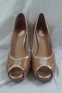 Cole Haan Gold Peep-Toe Leather Braided Pumps Heels Size 9 B #ColeHaan #PlatformsWedges #Casual
