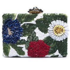 Oscar de la Renta Floral Embroidered Silk-Faille Rogan Box Clutch (6,825 MYR) ❤ liked on Polyvore featuring bags, handbags, clutches, silk handbags, beaded purse, hardcase clutch, embroidered purse and embroidered handbags