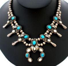 Vintage Squash Blossom Necklace Sterling Silver MOP Turquoise Naja Hogan Beads