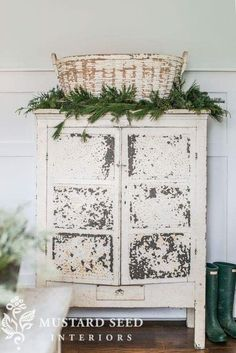 Winter Decor- Chippy white basket and greenery atop chippy white cabinet Miss Mustard Seed decor Rustic Shabby Chic Bedrooms, Shabby Chic Homes, Shabby Chic Furniture, Shabby Chic Decor, Rustic Decor, Farmhouse Decor, Modern Farmhouse, Farmhouse Style, Farmhouse Lighting