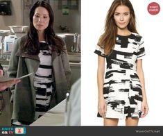 Joan's black and white brush stroke print dress on Elementary.  Outfit Details: http://wornontv.net/46777/ #Elementary