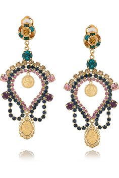 Dolce & Gabbana Crystal and Cameo Clip Earrings in Gold