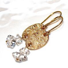 Gold Pattern Earrings Gold Disc Earrings Herkimer by FizzCandy