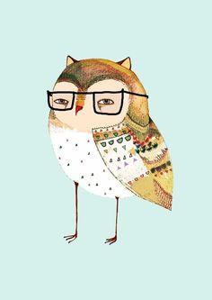 Little Owl wearing glasses. - Wall Art For Children by Illustrator Ashley Percival.