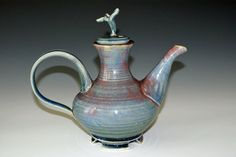 Ceramic Teapot / Blue / Lilac by ClairesClayware on Etsy, $69.00
