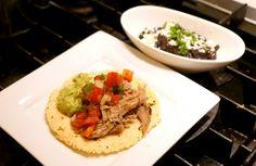 Homemade Corn Tortillas with Puerto Rican Shredded Pork with Pico de Gallo, Guacamole and Black Beans