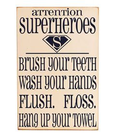 Take a look at this Cream & Navy 'Superheroes' Bathroom Wall Art by Vinyl Crafts on #zulily today!