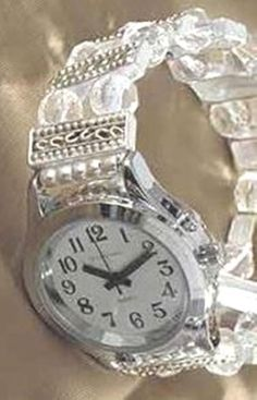 Ladies Talking Wrist Watch Silver Tone with Deluxe Beaded Band - Talking watches can be stylish! #talkingwatch