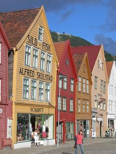 Beautifully maintained ancient storefronts, now part of the world heritage preservation project along the harbor in Bergen, Norway