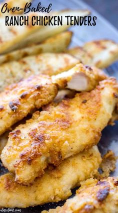 These Oven Baked Ranch Chicken Tenders are baked in the oven instead of fried. These chicken tenders are marinated with ranch dressing, giving this homemade chicken tender recipe incredible flavor! They're a total crowd pleaser. Baked Chicken Tenderloins, Oven Baked Chicken Tenders, Baked Ranch Chicken, Ranch Chicken Recipes, Roasted Chicken, Easy Oven Baked Chicken, Recipes With Chicken Breast Tenderloins, Air Fryer Chicken Tenders, Chicken Recepies