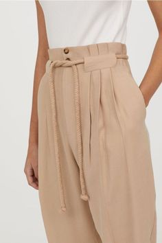 Trousers with a tie belt - Light beige - Ladies Skirt Outfits, Cool Outfits, Fashion Pants, Fashion Dresses, Fashion Mask, Fashion Details, Fashion Design, Fashion Trends, Ankle Length Pants