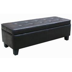 Black Leather Tufted Storage Bench Ottoman