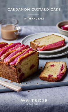 Decorated with striking rhubarb stripes this cardamom custard loaf cake is inspired by a favourite sweet. Tap for the full Waitrose & Partners recipe. Rhubarb And Custard, Rhubarb Cake, Custard Cake, Rhubarb Loaf, Cake Recipes For Kids, Best Cake Recipes, Baking Recipes, No Bake Desserts, Delicious Desserts