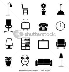 Vector Illustration:  furniture icon set