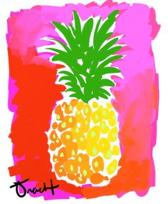 Art Print 11x14 Pineapple Pink and Green artist Kelly by trachtart, $55.00