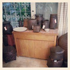 Minimalist teak wood sideboard +  basketry