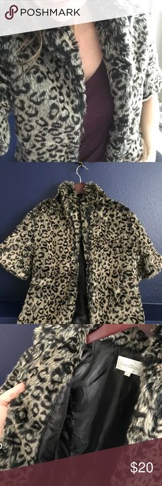 Grey Leopard Print Fur Jacket Grey leopard print fur jacket, short sleeves, lined, really good quality, only worn once! Costa Blanca Jackets & Coats
