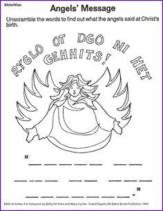 Angel Message (Christmas Activity) - Kids Korner - BibleWise