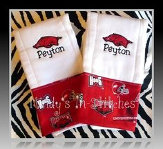 razorback personalized burp cloths