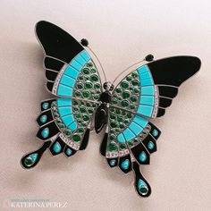 Van Cleef&Arpels #Butterfly #brooch with #onyx,#turquoise, #emeralds and…