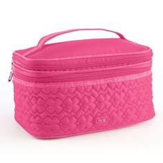 """Lug Travel TWO STEP Cosmetic Train Case Make Up Bag ROSE PINK by LUG. $30.00. Two-Step Cosmetic Pouch 8.5""""w x 4.5""""h x 5""""d Need help corralling a colossal collection of cosmetics? Have we got the case for you! The Two-Step features two separate compartments that have a clear plastic coating for easing cleaning. The larger bottom area has a zip pocket and clever elastic straps to keep products in place, while the top section has another big zip pocket and plenty o..."""