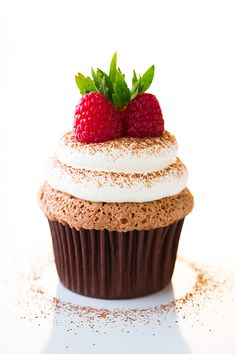 Chocolate Angel Food Cupcakes with Cream Cheese Whipped Cream Frosting | Cooking Classy