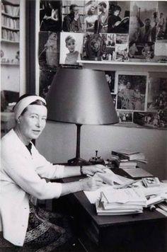Simone de Beauvoir at her office, ca 1955, Paris. Photo by Gisèle Freund (1908-2000).
