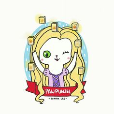 Pawpunzel 💜  #disneyprincess #rapunzel #tangled #catlover #cutedrawing #drawings #doodle #windalee #dailydoodle #princess #fantasy #fairytale #illustrations #cartoon