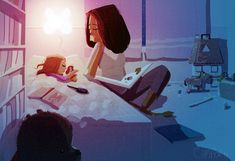 She taught me to love to read. Hush Little Baby by Pascal Campion Mother Daughter Art, Mother And Child, Family Illustration, Illustration Art, Anime Chibi, Pascal Campion, Familia Anime, Stories For Kids, Mothers Love