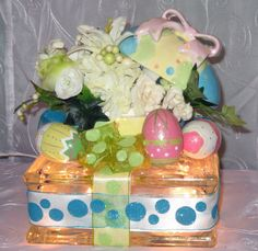Easter Glass Block Light by DaisyDesignsFloral on Etsy, $35.00