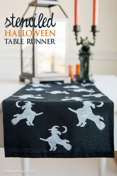 Stenciled Halloween Table Runner