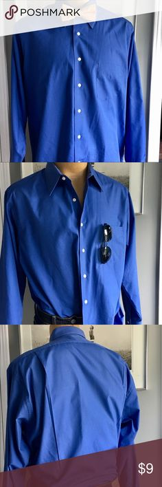 VAN HEUSEN POPLIN DRESS SHIRT Stylish royal blue dress shirt that can easily be dressed up with a tie and sport coat, or dressed down with jeans and a sweater.      EUC with no stains, rips, or smell.              Smoke-free home. Van Heusen Shirts Dress Shirts