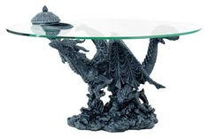 Delightful Curious Flying Dragon Small Glass Top Table Artwork