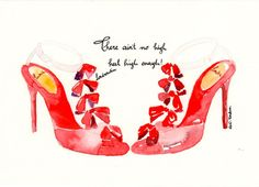 Louboutin high heels  Original Watercolor illustration by MilkFoam, $35.00