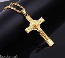 Brilliant Bijou Solid 10k Yellow Gold /& Rhodium Diamond-Cut Crucifix Pendant 30x18 mm