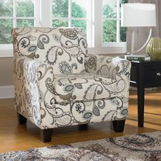 This is my very most favorite and goes nicely with the striped chair beside it.  But is the background too white?                                  Ashley Furniture Yvette - Steel Accent Chair w/ Loose Seat Cushion