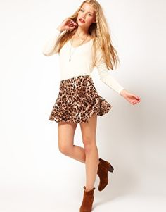 ASOS Skater Skirt in Animal Print