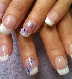 Butterfly accent french nails