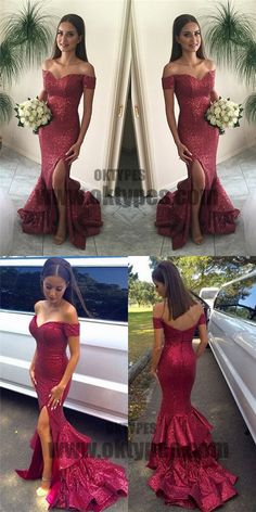 Long Red Mermaid Prom Dresses, Sequins Prom Dresses, Off-shoulder Prom Dresses, Split Side Prom Dresses, Zipper Prom Dresses, TYP0064 #promdresses