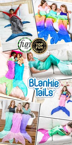 Feel like Ariel from the little mermaid in our MERMAZING Ombre Blankie Tails® or Be JAWESOME in our signature Blankie Tails® Shark Blanket! Winners of both the Parents' Choice and Tilywig Toy Awards for outstanding product! Made from premium grade, super soft, double sided minky fleece with minky dot embellishments around the top, and a gorgeously sewn tail, which you can slide your feet into, Blankie Tails® are perfect for cozy fun at home or on the go!