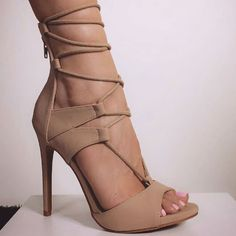 Monique Nude Leatherette Lace Up Heels | Lace Nice and Pink