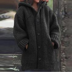 Spring Long Sleeve Knitted Outwear Women Hoodies Sweater Coats Spring Hooded Jackets Jumper Pull Femme Plus Size Solid Cardigan Green Loose Sweater, Sweater Coats, Long Sleeve Sweater, Plus Size Outerwear, Plus Size Cardigans, Cardigan En Maille, Knit Cardigan, Pullover Hoodie, Sweater Hoodie