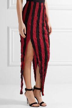 Juan Carlos Obando - Striped Crinkled Silk Crepe De Chine Maxi Skirt - Red - US2