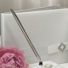 Pure Elegance in Wedding White Traditional Guest Book - #centerofattention #wedding #guestbooks