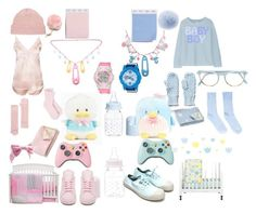 """""""Powder pink and baby blue"""" by milkprince ❤ liked on Polyvore featuring Giorgio Armani, adidas, Bensimon, Trend Lab, Babyletto, Baby-G, Madeleine Thompson, Portolano, Halcyon Days and Pantos"""