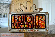 Halloween Candy Corn Glass Block