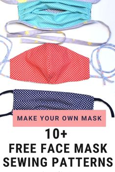 Face masks are in huge demand right now, all over the world. There's a shortage of surgical masks, that had better be prioritized for medical professionals. Homemade fabric masks are far from ideal, but given the circumstances, they may be the best option for some people. Here are some of the best free sewing patterns for making face masks at home. #facemasks #freepatterns #sewing #knitting #crochetstitches #macrame Sewing Patterns Free, Free Sewing, Free Pattern, Pattern Sewing, Fabric Sewing, Sewing Hacks, Sewing Tutorials, Sewing Projects, Sewing Tips